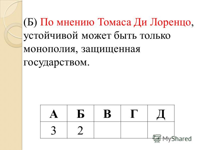 (Б) По мнению Томаса Ди Лоренцо, устойчивой может быть только монополия, защищенная государством. АБВГД 32
