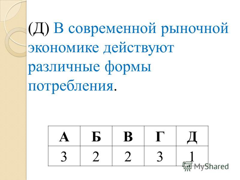 (Д) В современной рыночной экономике действуют различные формы потребления. АБВГД 32231