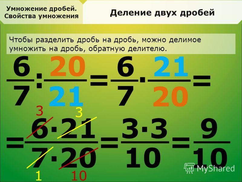 21 Умножение дробей. Свойства умножения Деление двух дробей Чтобы разделить дробь на дробь, можно делимое умножить на дробь, обратную делителю. 6 7 = : 20 21 6 7 · 20 = = 6·21 7·20 3 10 3 1 = 9 3·33·3 =
