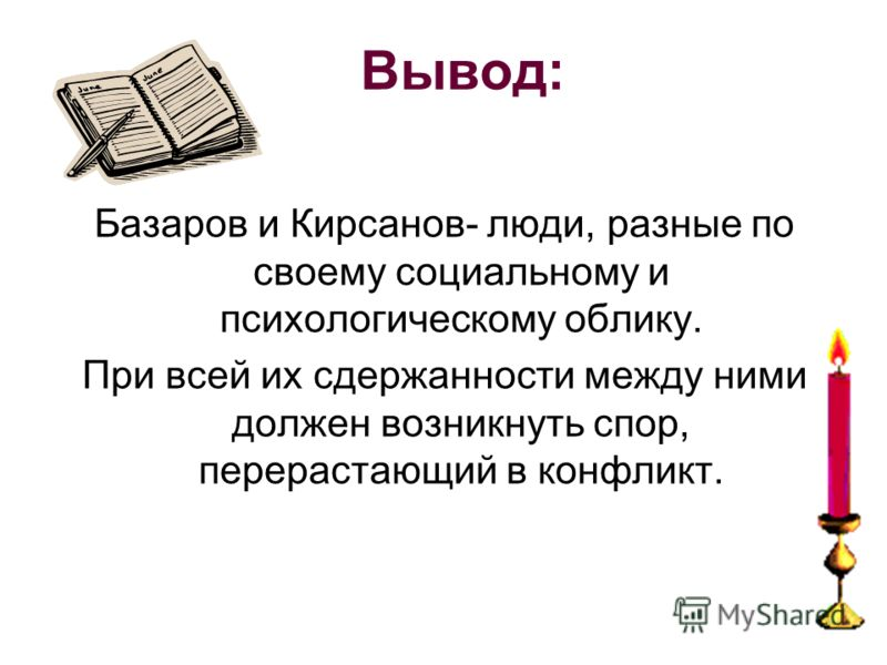 Вывод: Базаров и Кирсанов- люди, разные по своему социальному и психологическому облику. При всей их сдержанности между ними должен возникнуть спор, перерастающий в конфликт.