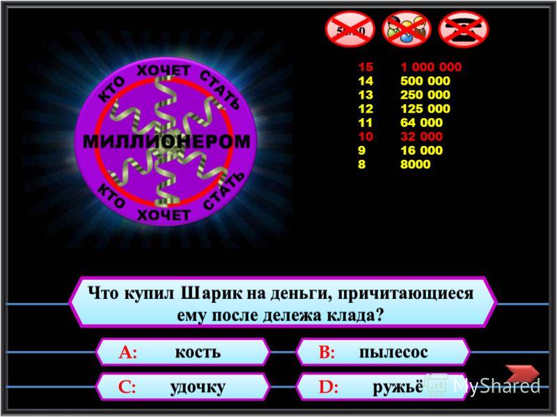 15 1 000 000 14 500 000 13 250 000 12 125 000 11 64 000 10 32 000 9 16 000 8 8000 7 4000 Какой журнал выписал дядя Фёдор? А: «Смешарики» С: «Кот и пёс» В: «Мурзилка» D:D: D:D: «За рулём»