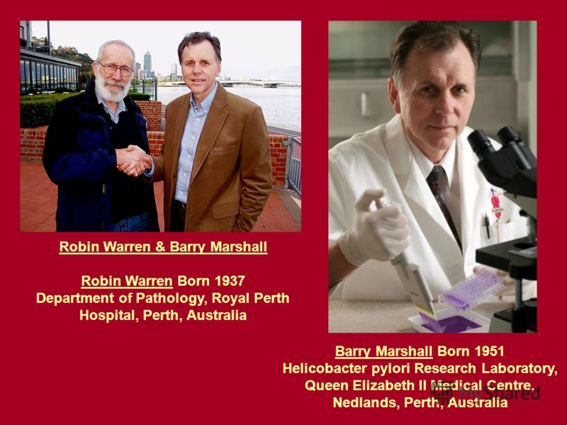 Robin Warren & Barry Marshall Robin Warren Born 1937 Department of Pathology, Royal Perth Hospital, Perth, Australia Barry Marshall Born 1951 Helicobacter pylori Research Laboratory, Queen Elizabeth II Medical Centre, Nedlands, Perth, Australia