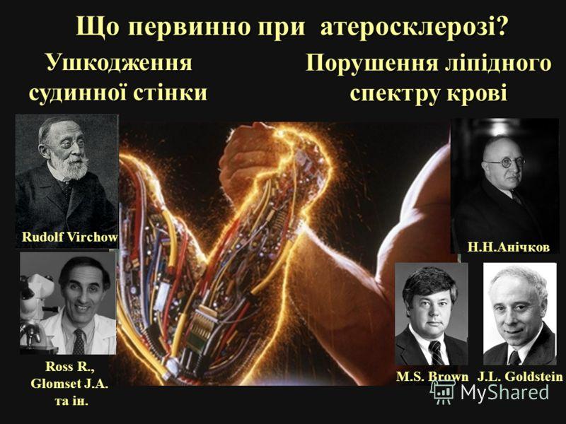 Що первинно при атеросклерозі? Ушкодження судинної стінки Порушення ліпідного спектру крові Rudolf Virchow Ross R., Glomset J.A. та ін. M.S. BrownJ.L. Goldstein Н.Н.Анічков