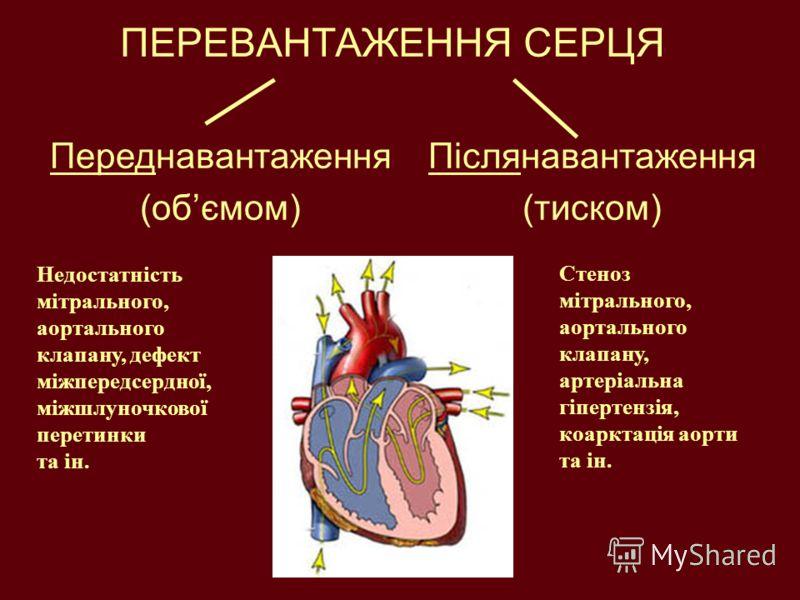 ПЕРЕВАНТАЖЕННЯ СЕРЦЯ Переднавантаження (обємом) Післянавантаження (тиском) Недостатність мітрального, аортального клапану, дефект міжпередсердної, міжшлуночкової перетинки та ін. Стеноз мітрального, аортального клапану, артеріальна гіпертензія, коарк