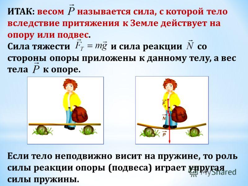 Силы, действующие на тело, уравновешивают друг друга: В соответствии с третьим законом Ньютона тело действует на опору с некоторой силой, равной по модулю силе реакции опоры и направленной в противоположную сторону: По определению, сила и называется