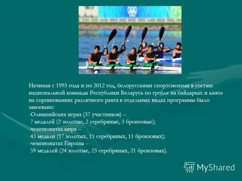Начиная с 1993 года и по 2012 год, белорусскими спортсменами в составе национальной команды Республики Беларусь по гребле на байдарках и каноэ на соревнованиях различного ранга в отдельных видах программы было завоевано: -Олимпийских играх (37 участн