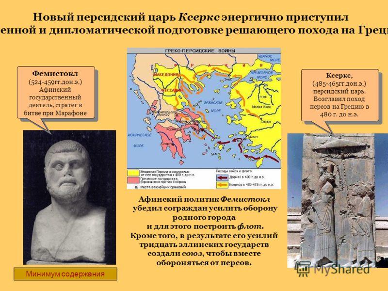 Фемистокл (524-459гг.дон.э.) Афинский государственный деятель, стратег в битве при Марафоне Фемистокл (524-459гг.дон.э.) Афинский государственный деятель, стратег в битве при Марафоне Ксеркс, (485-465гг.дон.э.) персидский царь. Возглавил поход персов