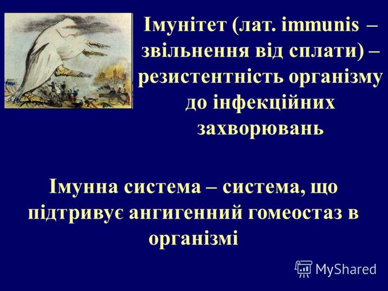 Імунітет (лат. immunis – звільнення від сплати) – резистентність організму до інфекційних захворювань Імунна система – система, що підтривує ангигенний гомеостаз в організмі
