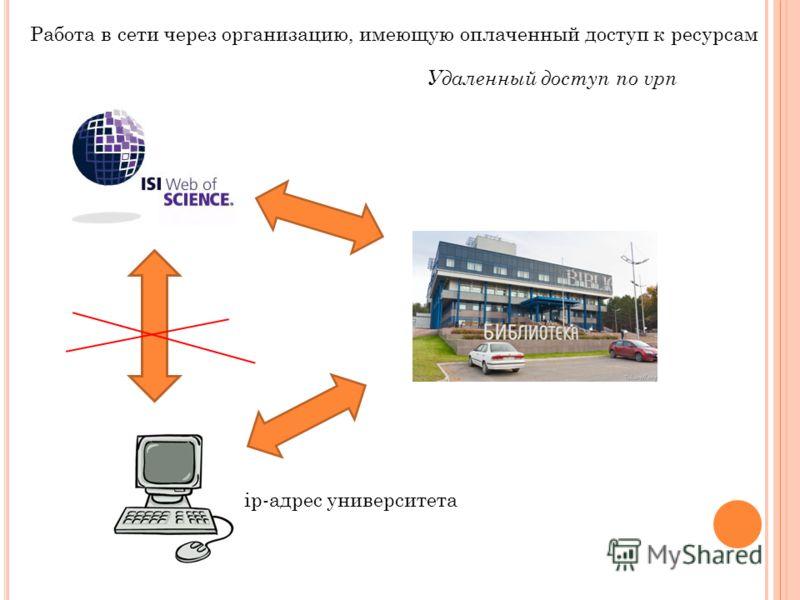 Работа в сети через организацию, имеющую оплаченный доступ к ресурсам Удаленный доступ по vpn ip-адрес университета