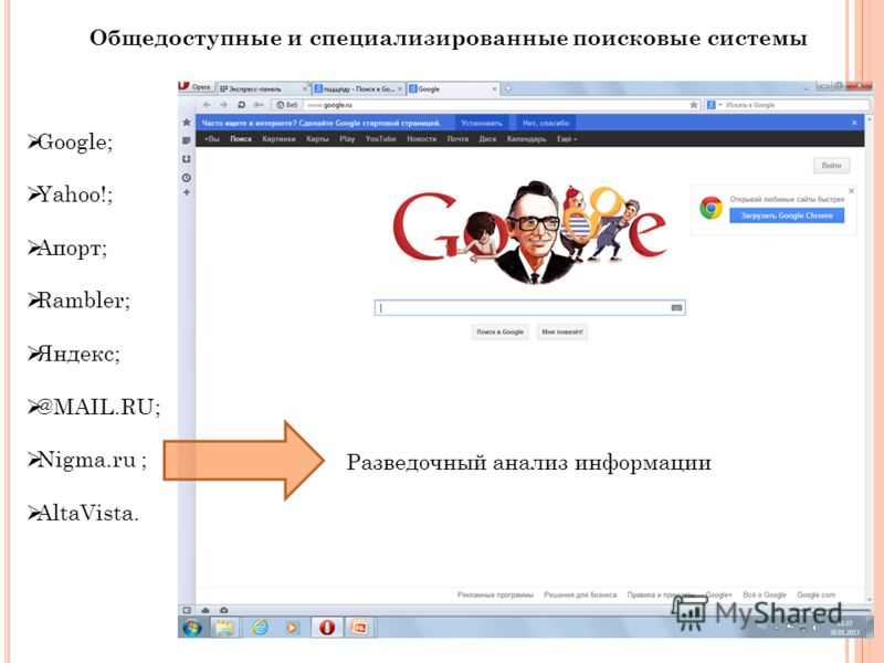 Общедоступные и специализированные поисковые системы Google; Yahoo!; Апорт; Rambler; Яндекс; @MAIL.RU; Nigma.ru ; AltaVista. Разведочный анализ информации