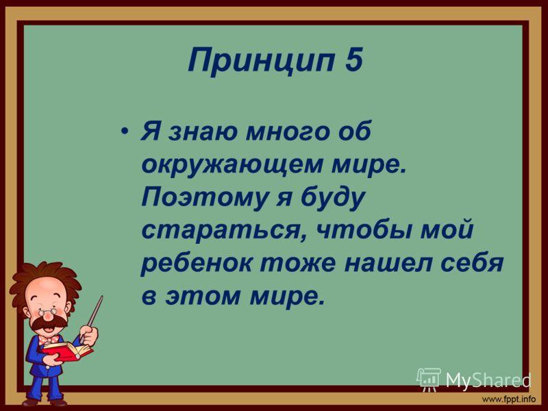 Принцип 5 Я знаю много об окружающем мире. Поэтому я буду стараться, чтобы мой ребенок тоже нашел себя в этом мире.