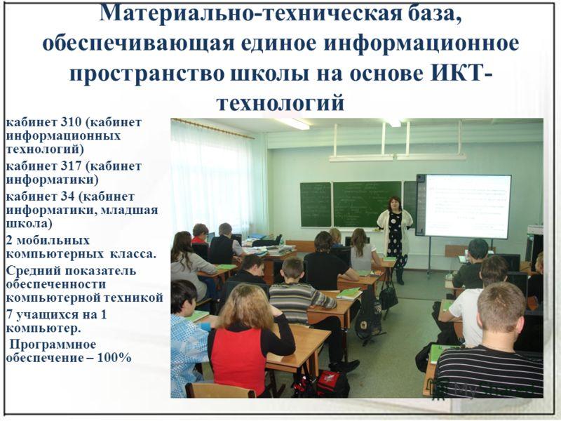 Материально-техническая база, обеспечивающая единое информационное пространство школы на основе ИКТ- технологий кабинет 310 (кабинет информационных технологий) кабинет 317 (кабинет информатики) кабинет 34 (кабинет информатики, младшая школа) 2 мобиль