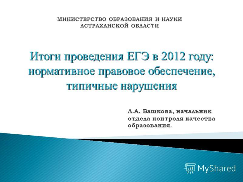 Итоги проведения ЕГЭ в 2012 году: нормативное правовое обеспечение, типичные нарушения Л.А. Башкова, начальник отдела контроля качества образования.