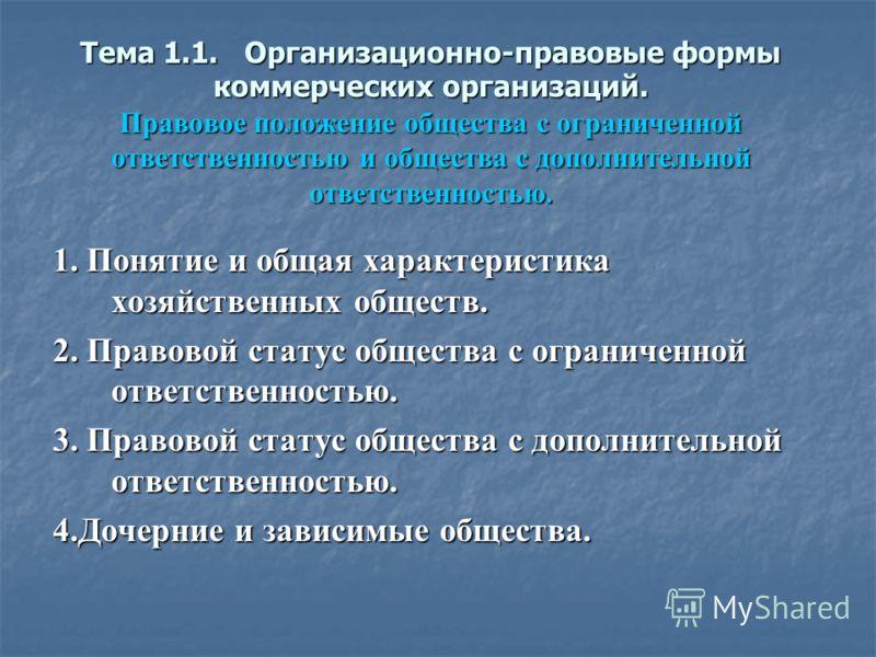Тема 1 1 организационно правовые формы