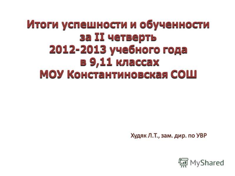Итоги успешности и обученности за II четверть 2012-2013 учебного года в 9,11 классах МОУ Константиновская СОШ