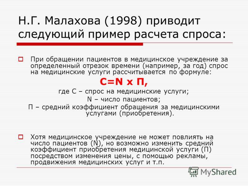 Н.Г. Малахова (1998) приводит следующий пример расчета спроса: При обращении пациентов в медицинское учреждение за определенный отрезок времени (например, за год) спрос на медицинские услуги рассчитывается по формуле: С=N х П, где С – спрос на медици