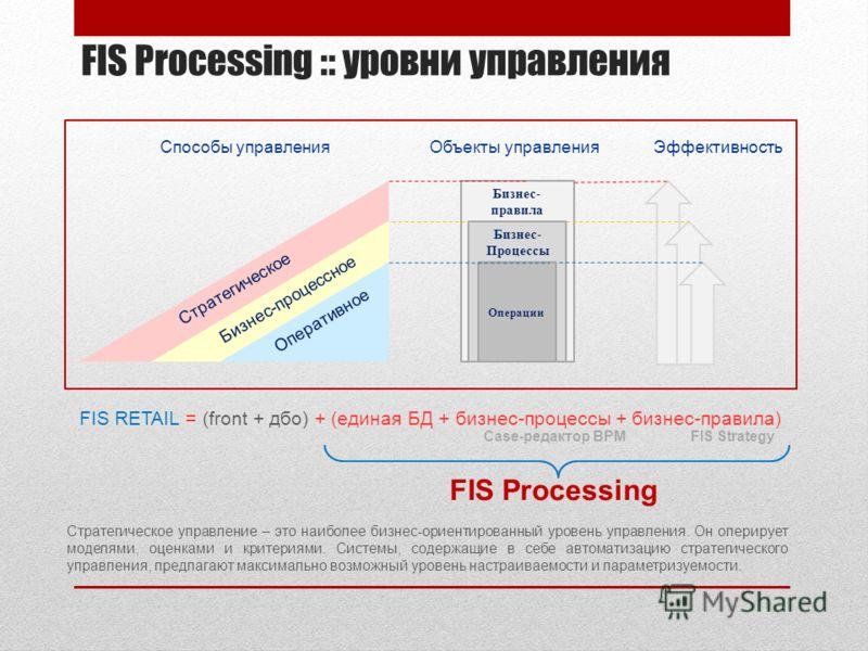 FIS Processing :: уровни управления Стратегическое управление – это наиболее бизнес-ориентированный уровень управления. Он оперирует моделями, оценками и критериями. Системы, содержащие в себе автоматизацию стратегического управления, предлагают макс