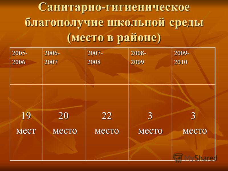Санитарно-гигиеническое благополучие школьной среды (место в районе) 2005-20062006-20072007-20082008-20092009-2010 19мест20 место место22место3место3