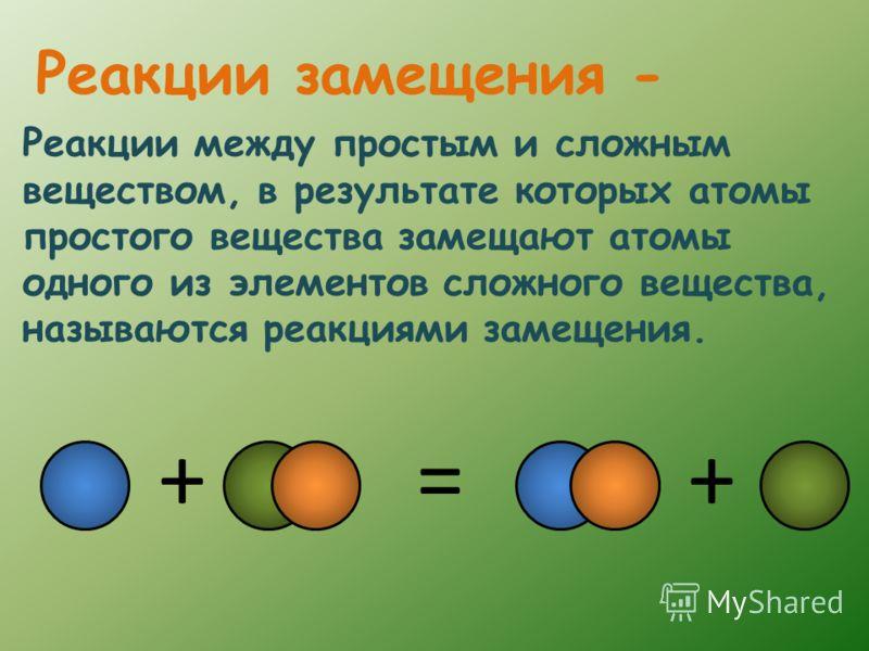 Реакции между простым и сложным веществом, в результате которых атомы простого вещества замещают атомы одного из элементов сложного вещества, называются реакциями замещения. Реакции замещения - ++=