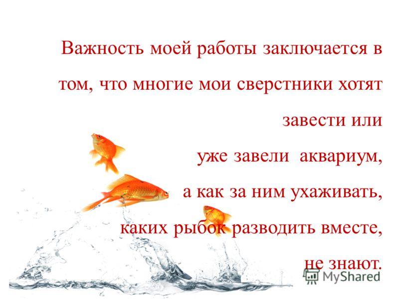 Важность моей работы заключается в том, что многие мои сверстники хотят завести или уже завели аквариум, а как за ним ухаживать, каких рыбок разводить вместе, не знают.