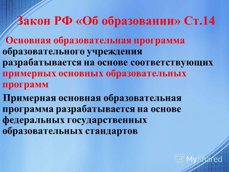 Закон РФ «Об образовании» Ст.14 Основная образовательная программа образовательного учреждения разрабатывается на основе соответствующих примерных основных образовательных программ Примерная основная образовательная программа разрабатывается на основ