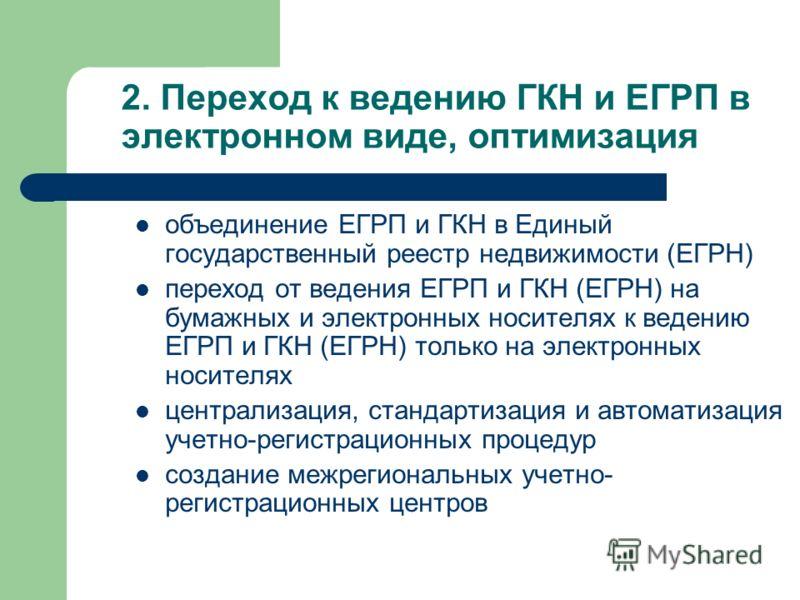 2. Переход к ведению ГКН и ЕГРП в электронном виде, оптимизация объединение ЕГРП и ГКН в Единый государственный реестр недвижимости (ЕГРН) переход от ведения ЕГРП и ГКН (ЕГРН) на бумажных и электронных носителях к ведению ЕГРП и ГКН (ЕГРН) только на