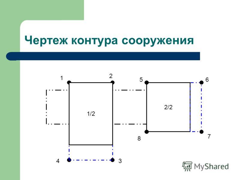 Чертеж контура сооружения 2/2 1 2 34 5 6 7 8 1/2