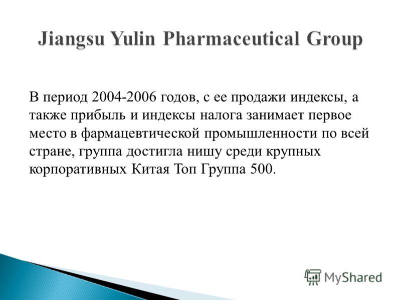 В период 2004-2006 годов, с ее продажи индексы, а также прибыль и индексы налога занимает первое место в фармацевтической промышленности по всей стране, группа достигла нишу среди крупных корпоративных Китая Топ Группа 500.