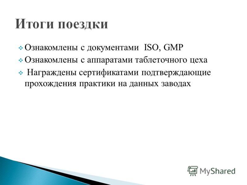 Ознакомлены с документами ISO, GMP Ознакомлены с аппаратами таблеточного цеха Награждены сертификатами подтверждающие прохождения практики на данных заводах
