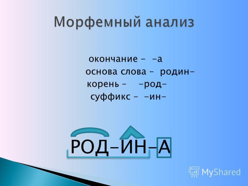 окончание - -а основа слова – родин- корень – -род- суффикс – -ин- РОД-ИН-А