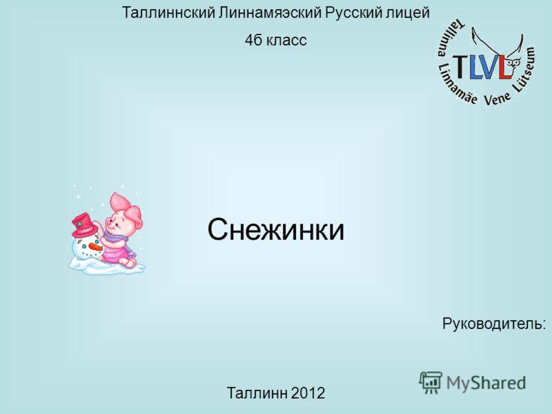Таллиннский Линнамяэский Русский лицей 4б класс Снежинки Руководитель: Таллинн 2012