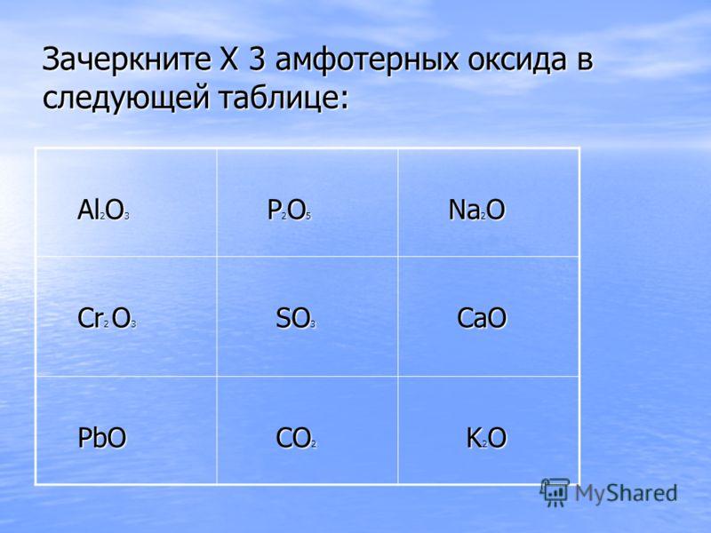 Зачеркните X 3 амфотерных оксида в следующей таблице: Al 2 O 3 Al 2 O 3 P 2 O 5 P 2 O 5 Na 2 O Na 2 O Cr 2 O 3 Cr 2 O 3 SO 3 SO 3 CaO CaO PbO PbO CO 2 CO 2 K 2 O K 2 O