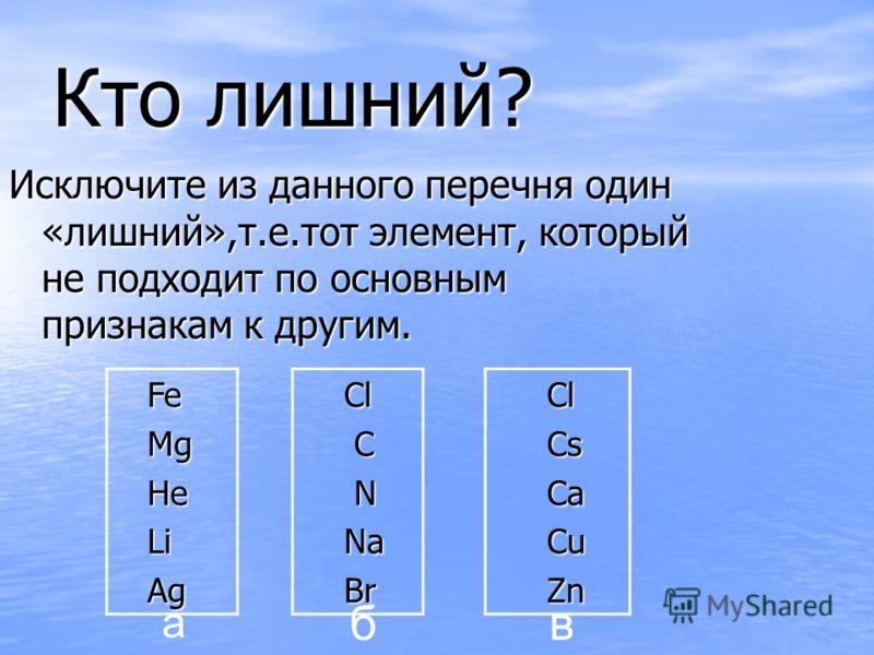 Кто лишний? Fe Fe Mg Mg He He Li Li Ag Ag Cl Cl Cs Cs Ca Ca Cu Cu Zn Zn Cl Cl C N Na Na Br Br Исключите из данного перечня один «лишний»,т.е.тот элемент, который не подходит по основным признакам к другим. а бв
