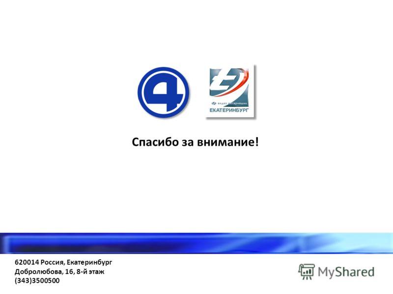 620014 Россия, Екатеринбург Добролюбова, 16, 8-й этаж (343)3500500 Спасибо за внимание!