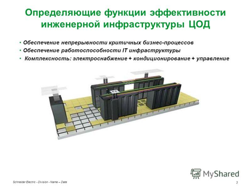 Schneider Electric 3 - Division - Name – Date Определяющие функции эффективности инженерной инфраструктуры ЦОД Обеспечение непрерывности критичных бизнес-процессов Обеспечение работоспособности IT инфраструктуры Комплексность: электроснабжение + конд