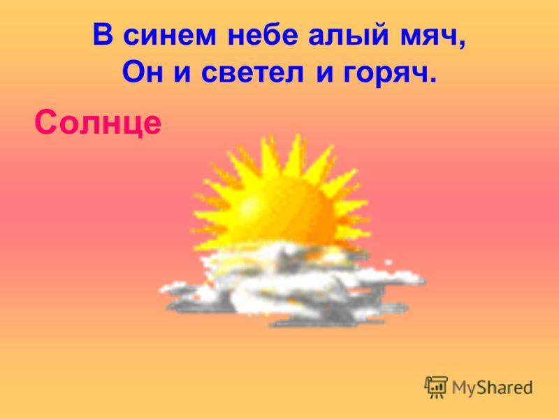 В синем небе алый мяч, Он и светел и горяч. Солнце