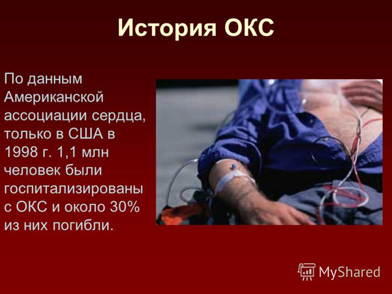 История ОКС По данным Американской ассоциации сердца, только в США в 1998 г. 1,1 млн человек были госпитализированы с ОКС и около 30% из них погибли.