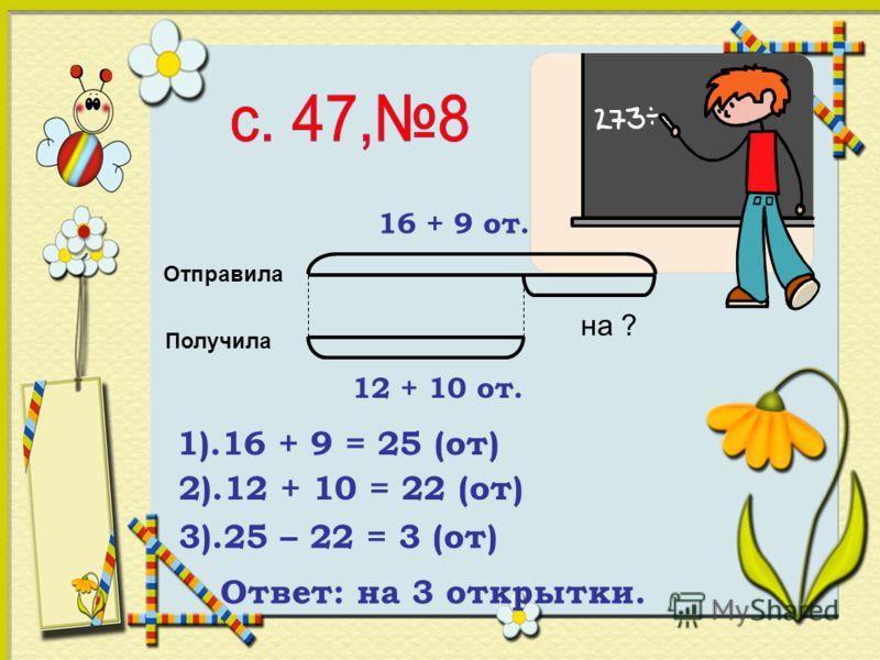 Отправила Получила на ? 16 + 9 от. 12 + 10 от. 1).16 + 9 = 25 (от) 2).12 + 10 = 22 (от) 3).25 – 22 = 3 (от) Ответ: на 3 открытки.