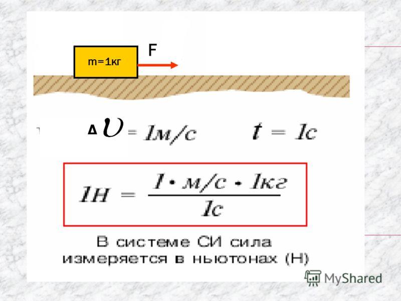 F m=1кг