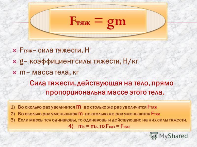F тяж – сила тяжести, Н g– коэффициент силы тяжести, Н/кг m– масса тела, кг Сила тяжести, действующая на тело, прямо пропорциональна массе этого тела. F тяж = gm 1)Во сколько раз увеличится m, во столько же раз увеличится F тяж. 2)Во сколько раз умен