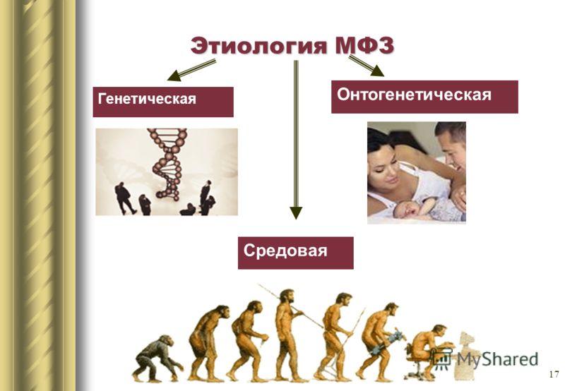 17 Этиология МФЗ Генетическая Онтогенетическая Средовая