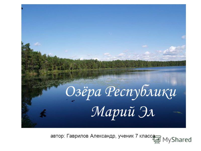 автор: Гаврилов Александр, ученик 7 класса Озёра Республики Марий Эл