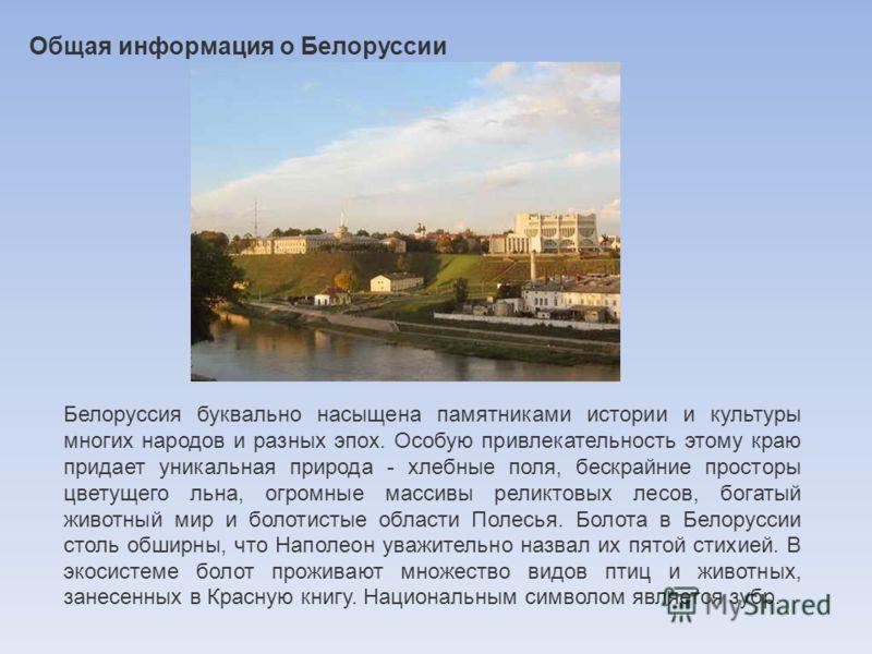 Общая информация о Белоруссии Белоруссия буквально насыщена памятниками истории и культуры многих народов и разных эпох. Особую привлекательность этому краю придает уникальная природа - хлебные поля, бескрайние просторы цветущего льна, огромные масси