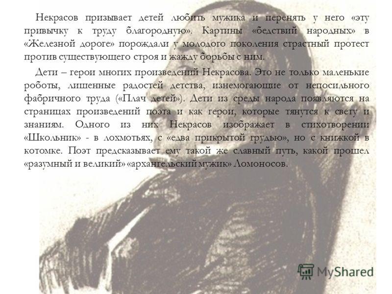 Некрасов призывает детей любить мужика и перенять у него «эту привычку к труду благородную». Картины «бедствий народных» в «Железной дороге» порождали у молодого поколения страстный протест против существующего строя и жажду борьбы с ним. Дети – геро