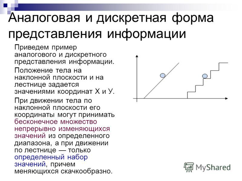 Приведем пример аналогового и дискретного представления информации. Положение тела на наклонной плоскости и на лестнице задается значениями координат X и У. При движении тела по наклонной плоскости его координаты могут принимать бесконечное множество