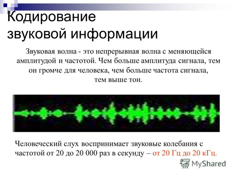 Звуковая волна - это непрерывная волна с меняющейся амплитудой и частотой. Чем больше амплитуда сигнала, тем он громче для человека, чем больше частота сигнала, тем выше тон. Кодирование звуковой информации Человеческий слух воспринимает звуковые кол