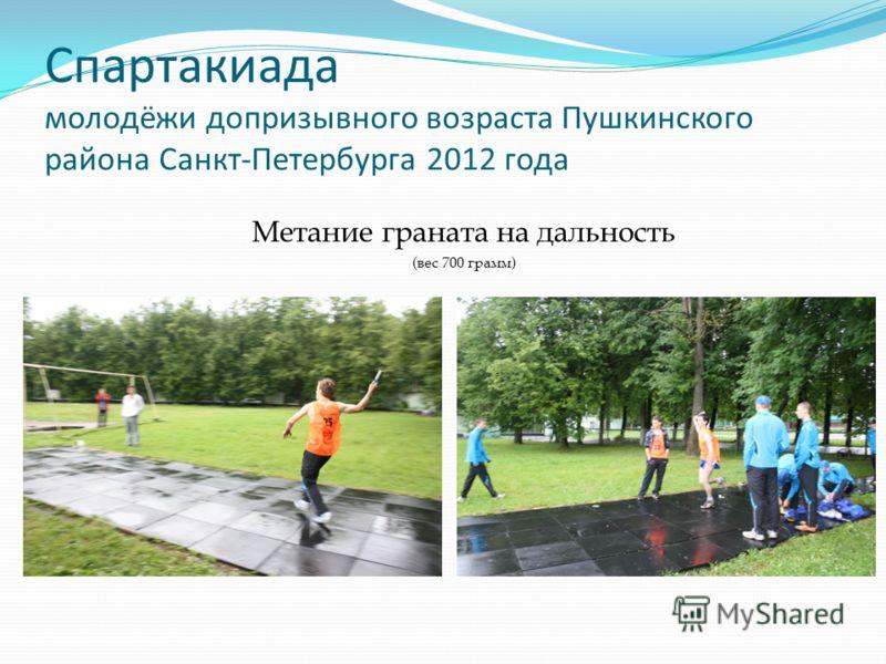 Спартакиада молодёжи допризывного возраста Пушкинского района Санкт-Петербурга 2012 года Метание граната на дальность (вес 700 грамм)
