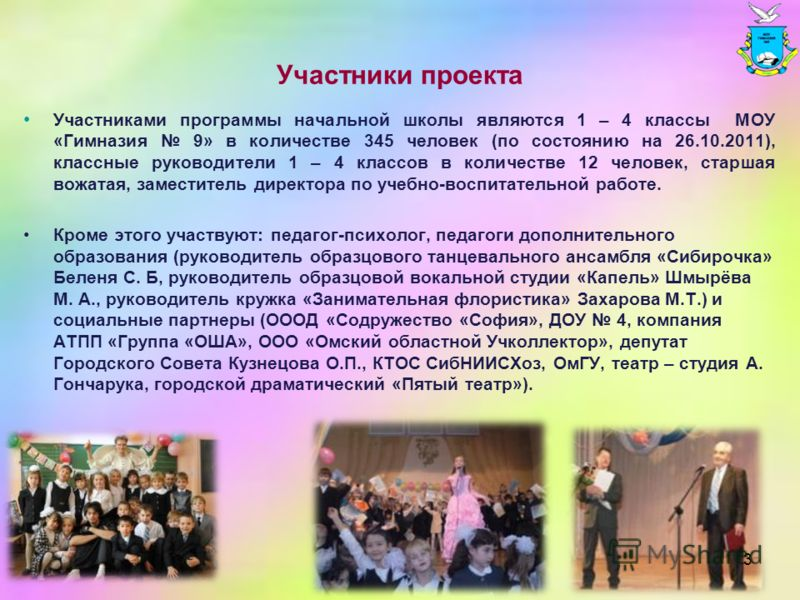 Участники проекта Участниками программы начальной школы являются 1 – 4 классы МОУ «Гимназия 9» в количестве 345 человек (по состоянию на 26.10.2011), классные руководители 1 – 4 классов в количестве 12 человек, старшая вожатая, заместитель директора
