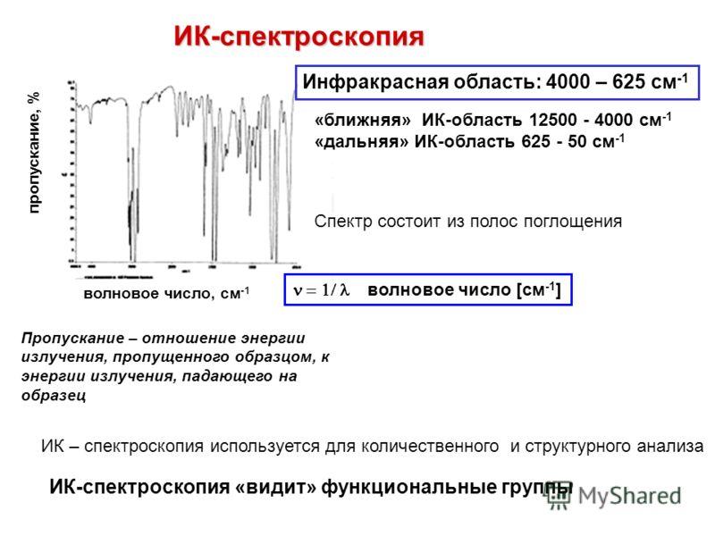 волновое число, см -1 пропускание, % ИК-спектроскопия Инфракрасная область: 4000 – 625 см -1 «ближняя» ИК-область 12500 - 4000 см -1 «дальняя» ИК-область 625 - 50 см -1 Пропускание – отношение энергии излучения, пропущенного образцом, к энергии излуч