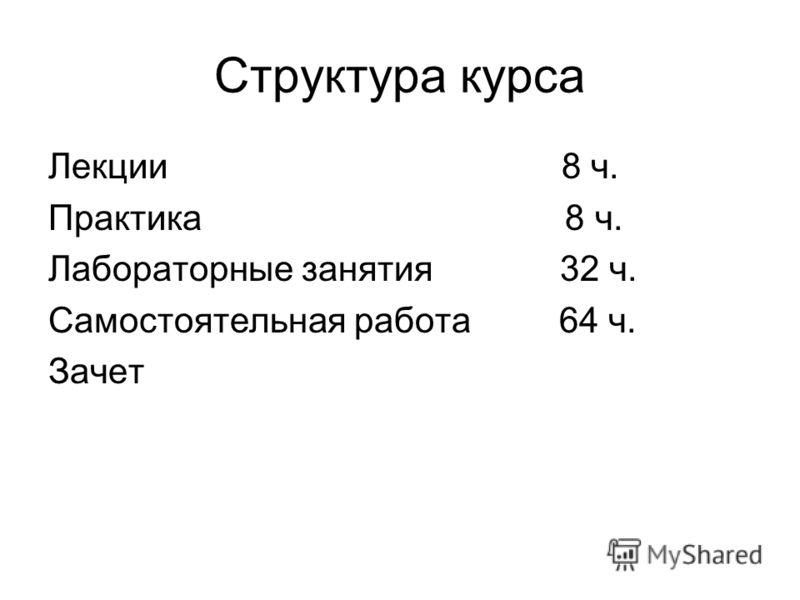 Структура курса Лекции 8 ч. Практика 8 ч. Лабораторные занятия 32 ч. Самостоятельная работа 64 ч. Зачет